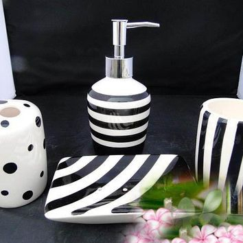 Fashion black and white ceramic bathroom supplies wash 4piece cup set lotion bottle+mug+toothbrush holder +soap dish