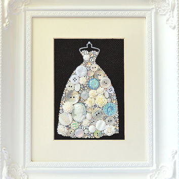 Button Art - White Gown - Vintage Button Art, Wall Hanging, Wall Art, Home Decor, Button Mosaic