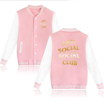 ANTI SOCIAL CLUB Teen branding velvet baseball Pink Gold letters