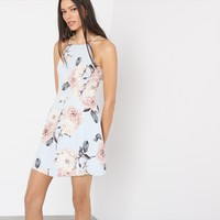 Floral Flared Halter Cocktail Dress