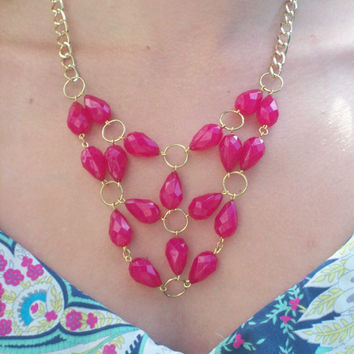 Ruby and Gold Statement Bib Necklace