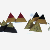 Wooden Handpainted Triangle Earrings // Triangle Studs // Gold Studs // Glittler Earrings // Wooden Glitter Studs // Christmas Gifts // Gold