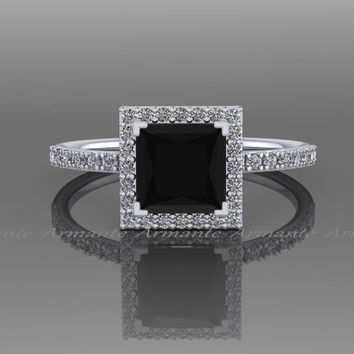 Black Diamond 1.60 carat Princess Cut Engagement Ring, 14K White Gold Natural White and Black Diamond Halo Ring, Wedding Ring RE57.6BK