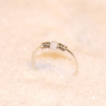 Sterling Silver Nose Ring, White Beaded Nose Ring, 24 Gauge Hoop, 22 Gauge Hoop Earring, Cartilage Hoop, Seamless Hoop