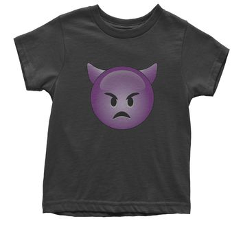 (Color) Emoticon - Sad Devil Face Smiley Youth T-shirt