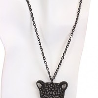 Black Rhinestone Animal Head Pendent Necklace