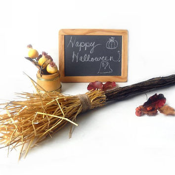 Halloween Witches Broom Straw and Natural Vine Prim Decoration, Primitive Fall Home and Autum Hearth Decor, Thanksgiving Folk Art Display
