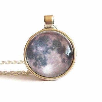 Full Moon necklace,moon charm,planet necklace,planet jewelry,glass galaxy pendant,space necklace,astronomy necklace,cancer zodiac,birthday
