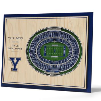 Yale Bulldogs | 3D Stadium View | Yale Bowl | Wall Art | Wood | 5 Layer