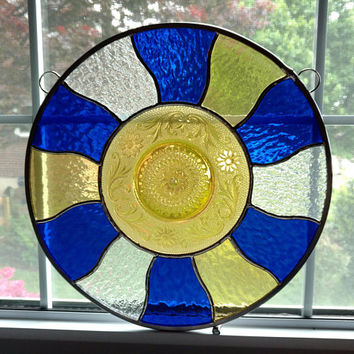 Round Stained Glass Window Panel with Vintage Plate - Stained Glass Sun Burst - Blue Yellow Clear - Geometric Stained Glass - Privacy Screen