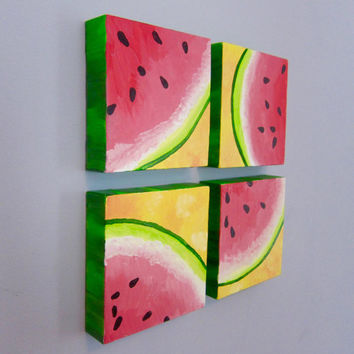 MULTICANVAS WATERMELON - four canvas art, wedge of watermelon, decor for kitchen, girls nursery room, food art, fruit painting, summer decor
