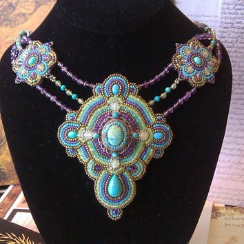 Bead embroidery sterling silver, turquoise, Amethyst, Peridot, Art Deco with an Aztec feel