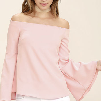 Dreams of Dancing Blush Pink Off-the-Shoulder Top