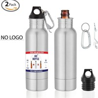 The Original Beer Bottle Cooler - Cold Beer Keeper - Stainless Steel Bottle Armor Insulator - Bottled Beer Armour Holder - Fits 12oz Bottles - Includes Bottle Opener & Keychain Carabiner (2 Pack)