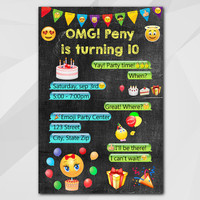 Emoji Invitation, Smiley Birthday Card, Emoji themed party, emoji birthday party, Custom Birthday etsy invite C006-1