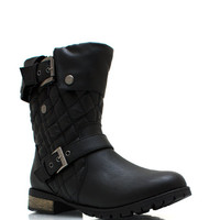 Quilted-Moto-Boots BLACK TAUPE - GoJane.com