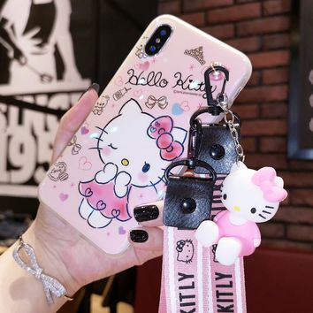 For iPhone X blue-ray Case, Hello Kitty soft Cover for iPhone X 8 6 6S Plus 8plus 7 7plus phone bag+ 3D holder stand +Strap cute