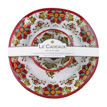 Le Cadeaux Allegra Red Chip and Dip 2 Bowl Set