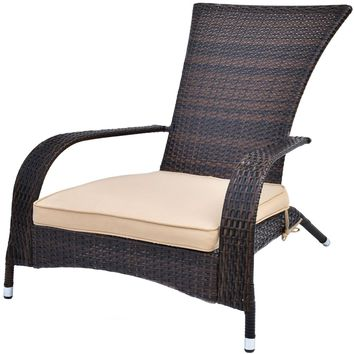 Outdoor Wicker Adirondack Chair Patio Porch Deck Furniture w/ Seat Cushion New