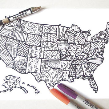 usa colouring map united states america book planner journal kids adults digital download zen colouring printable digital lasoffittadiste