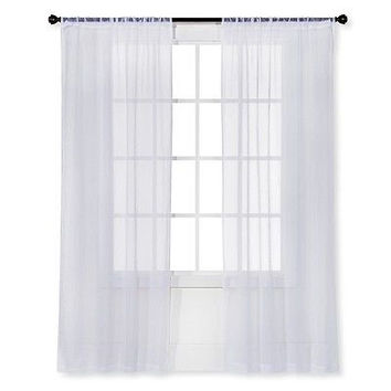 Room Essentials Snow White Sheer Curtain Panel Crinkle 40 X 63