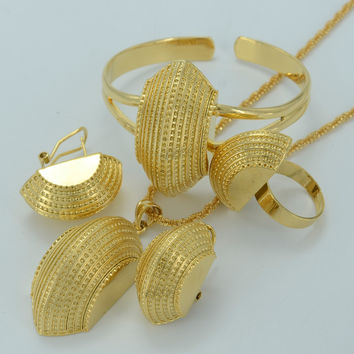 Ethiopian New Jewelry sets 22K Real Gold Plated Eritrean Engagement/Bride Wedding Habesha Luxury Jewelry Africa/Sudan #002501