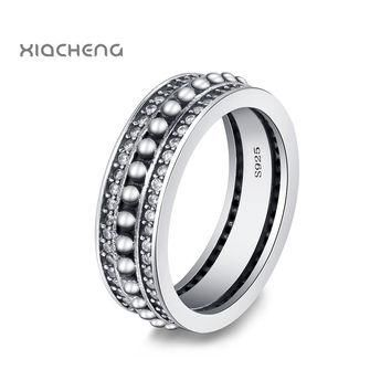 Ningbo Pandora 925 Sterling Silver Ring With Retro Stylish Gatherings CZ Ring For Wome