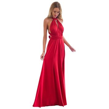 Maxi Dresses Long Summer Women Boho Sexy Red Bandage Multiway Bridesmaids Wedding Party Dress