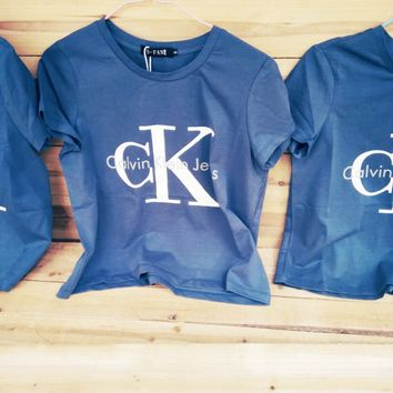 Calvin klein jeans Hot sexy letters printing female sweater pullovers Blue tee shirt G