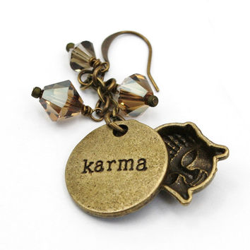 Buddha Karma Crystal Antique Bronze Earrings