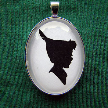 Peter Pan Silhouette Cameo Pendant Necklace