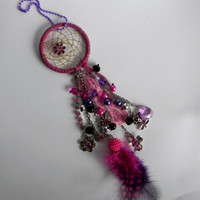 Dream Catcher Car Charm Dazzler - Pink, Purple and Black - Flowers and Grow Word Charms - Car Charm, Rear View Mirror, Handmade, Beaded