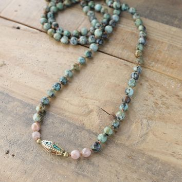 African Turquoise and Sunstone Hand Knotted Mala Necklace