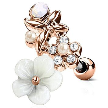 BodyJ4You Tragus Ball Piercing White Flower Stud Earring 16G Rose Goldtone Surgical Steel Helix Barbell
