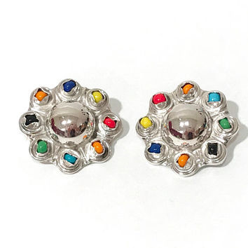 Sterling Silver Earrings Taxco Mexico Clip On Modernist Earrings, Domed Multi Dimensional Colorful Glass Beads, Signed TC-140, Vintage 1960s