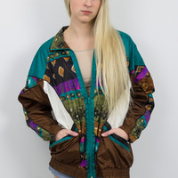 Vintage Tribal Print Windbreaker Jacket