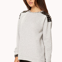 FOREVER 21 Battle Spikes Sweatshirt Heather Grey/Black Large