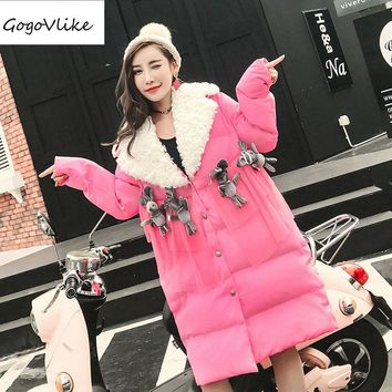 Pink Fur Neck Spliced Cotton Padded Jacket Doll Appliques 2017 Winter Women Cute Warm Thick Coat   LT111S10