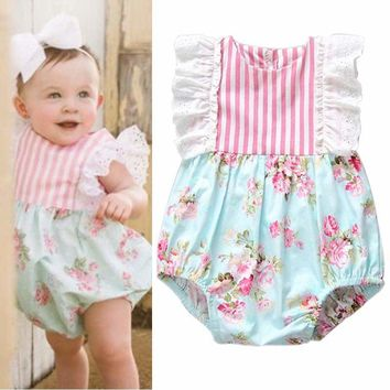 Ruffled Fly Sleeve Romper With Floral Pattern And Pink And White Stripes