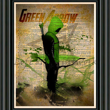 Green Arrow -  Vintage Silhouette print  - Retro Super Hero Art - Dictionary print art