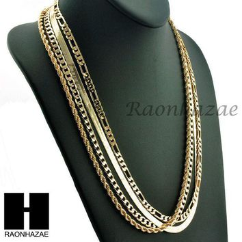 CREYONRC HIP HOP 4 CHAINS SET ROPE, CUBAN, HERRINGBONE & FIGARO 5mm NECKLACE CHAIN SET