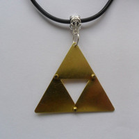 "Zelda Triforce steampunk necklace that adjusts for 16"" to 18.5"" Triforce is 1 7/8 "" by  1 7/8"""