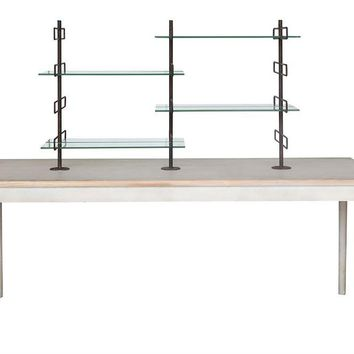 Vintage Wood Table with 8 Metal & Glass Shelves
