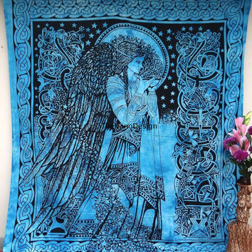 Eve Angel  Wall Tapestries, Psychedelic Star Mandala Tapestry Wall Hanging, Indian Bedspread Bohemian Room Décor, Dorm Bedding Tapestry Art