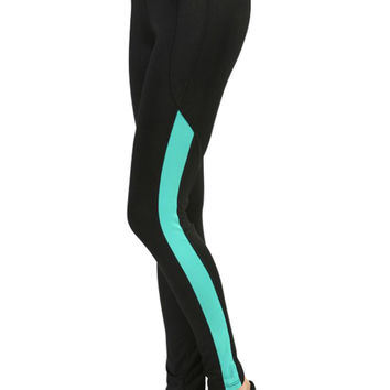 Colorblock Waist and Side Ankle Workout Fitness Yoga Slim Fit Spandex Pant