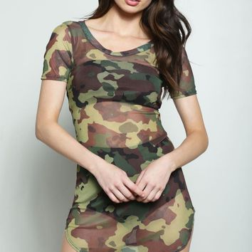 Sheer Camo T Shirt Dress