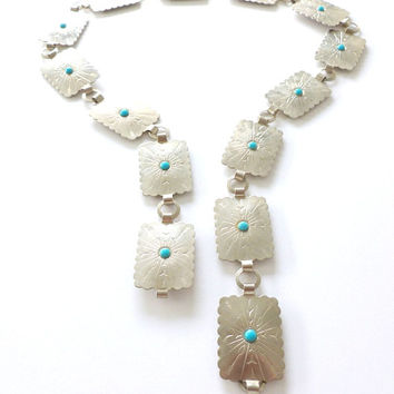 Silver Tone Concho Belt with Faux Turquoise South West Chain Belt Metal Belt