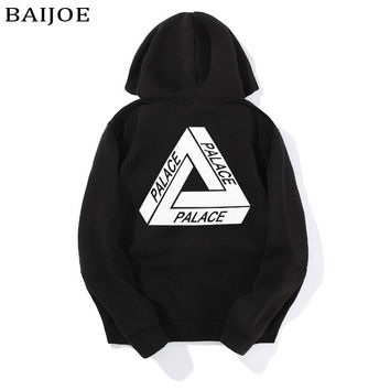 BAIJOE High Quality 2017 Mens Palace Skateboards Hoodies Male Cotton Triangle Sweat Palace Sweatshirt Palace pullover Hoodies