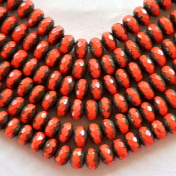32 6 x 9mm Czech Coral (red / orange) Picasso Faceted Puffy Rondelle Beads, coral colored Czech glass beads C14201