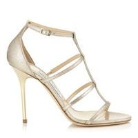 Nude Textured Metallic Patent Sandals | Dory 100 | Pre Fall 15 | JIMMY CHOO Shoes
